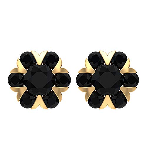 Rosec Jewels 14 quilates oro amarillo redonda Black Espinela negra
