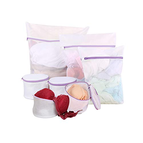 Meilala 7Pack Mesh Laundry Bags with Premium Zipper ,Delicates Bra Wash Bag , Clothing Washing Bags for Laundry, Blouse, Bra, Hosiery, Lingerie,Travel (1 Large, 1 Medium, 1Small, 4 Bra Laundry Bags )