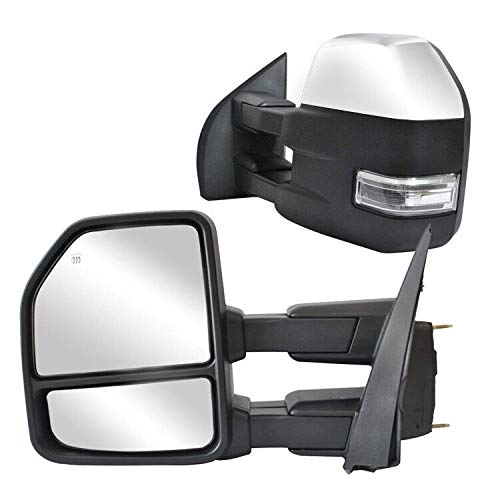 WLLW Towing Mirrors fit for Ford F150 Pickup Truck 2015 2016 2017 2018 2019, Chrome Cap Power Heated with Turn Signal - 8 Pin Plug