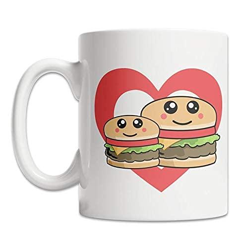 Taza del corazón de la hamburguesa   Amo las hamburguesas taza de  Agrega Estilo A Su Móvil! Taza del amante de la hamburguesa de  Primavera! Taza de la comida de Kawaii   Taza linda de la ham