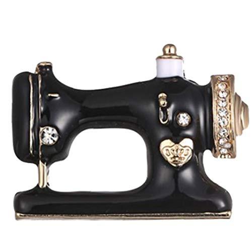 BYFRI 1pc Schwarze Nähmaschine Brosche Nadelfaden Näherin-Broschen Emaille Jeansjacke Pin-Abzeichen Unisex