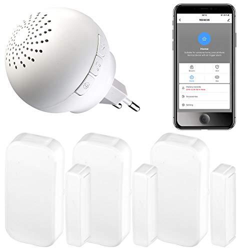 VisorTech Smarthome-Zentralen: 4-teiliges WLAN-Alarmsystem für Funkgeräte, 3X Fenster-/Türsensor, App (Alarmanlage Häuser WiFi)
