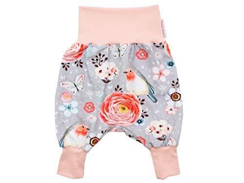 Kleine Könige Petit Pantalon de pompage pour bébé Fille - Modèle Oiseaux - Gris - Certifié Öko-Tex 100 - Tailles 50-128 - Gris - 7/8 Ans