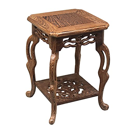 YUXI8541NO Soporte de exhibición de madera maciza para florero, mini jarrón con adornos en maceta, tetera de jade con alas de pollo, base de madera, base decorativa para mesa de flores (color: B)