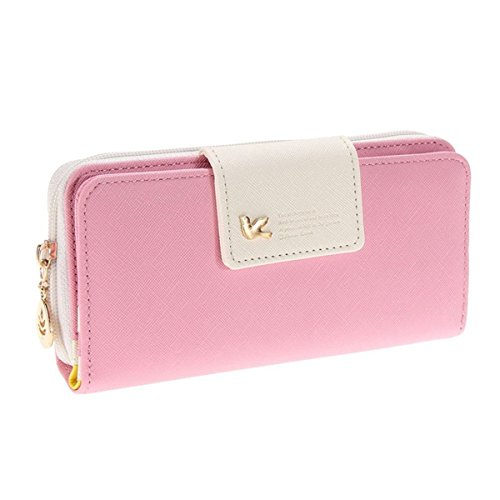 Ein Damen Multi-Position Zwei Fold lang Reißverschluss Portemonnaie lang Reißverschluss Geldbörse Handtasche Handtasche, rose (Pink) - QB005