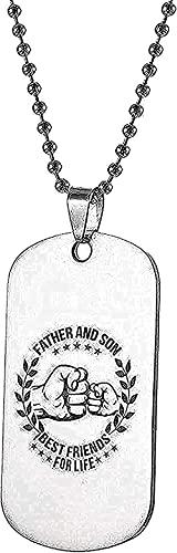 WYDSFWL Collar Colgante Collar Acero Inoxidable Día Mi Hijo Padre Hijo Collar Nombre Escudo Collar Perro Templo Mejores Amigos para Estilo de Vida para Mujeres Hombres Regalo Regalos