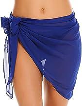 JFAN Traje de Baño para Mujer Vestido Envolvente Traje de Baño Chal de Gasa Pareo de Playa Falda de Pareo Tropical(B,Talla única