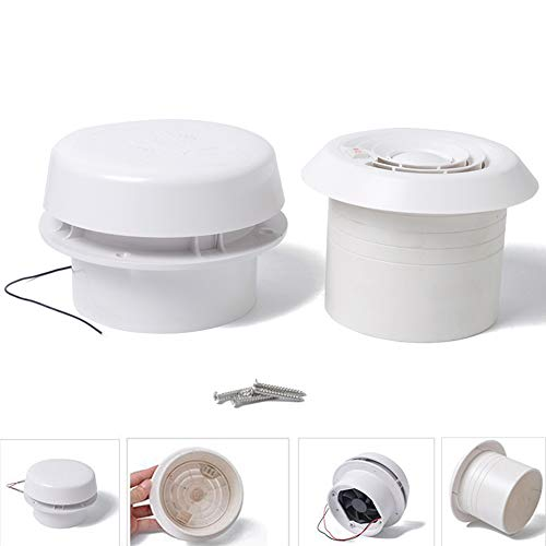 Dachbelüftung, Deckenventilator für Wohnmobil, Wohnmobil-Anhänger, 12 V, 60 CFM leistungsstark, geräuscharme Wand- und Deckenmontage, ABS, Abluftventilator, weiß