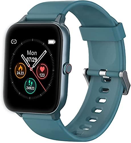 IOWODO Smartwatch,Reloj Inteligente Hombre Mujer con 1.5' Táctil Completa 5ATM para Pulsómetro, Monitor de Sueño,Podómetro, Modo de Natación, Pulsera de Actividad Inteligente para Android iOS