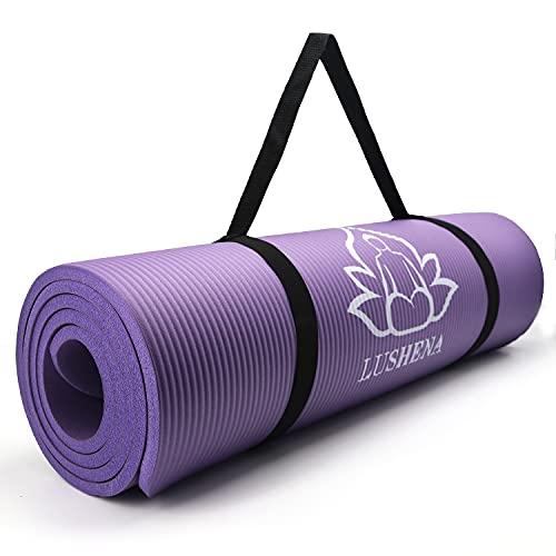 LUSHENA NBR Thick Yoga Mat for Women Men, Non Slip Durable Exercise Mats for Home Workout Floor Gym, 72″ x 24″ x 2/5″