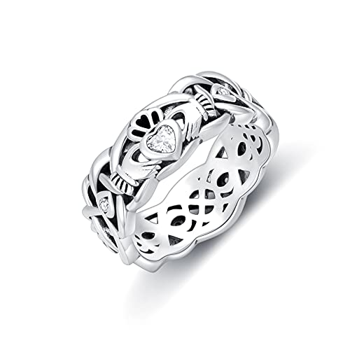 Seiyang Irish Claddagh Ring 925 Sterling Silver Traditional Claddagh Celtic Knot Band (7)