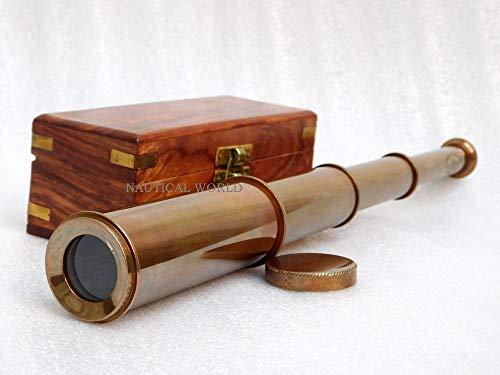Antico Nautico Vintage Decorativa Ottone Massiccio Telescopio con in Legno