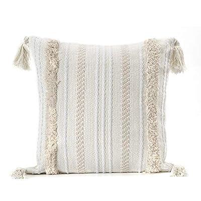 💮【Material suave】La funda cojin boho está hecha de algodón de alta calidad. Las fundas de almohada están tejidas a mano, por lo que las partes acolchadas son muy suaves y cómodas, agradables al tacto. La artesanía exquisita hace que los mechones sean...