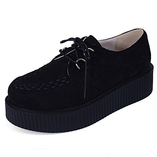 Creepers para Hombre Cordones Plataforma Gótico Punk Cuero Oxfords Negro 45