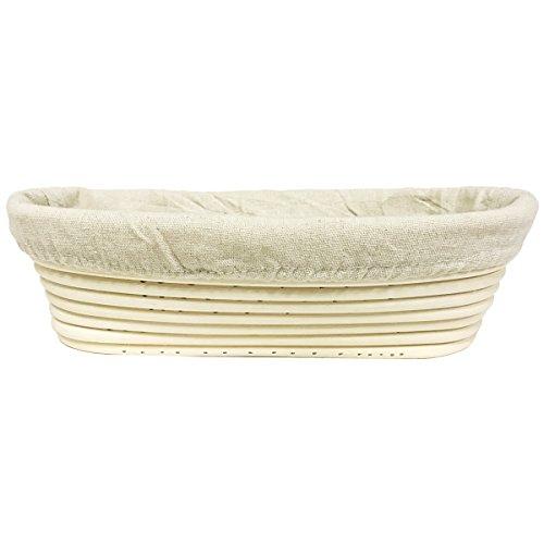 eoocvt 11 inch Oval Long Banneton Brotform Bread Dough Proofing Rising Rattan Handmade Basket with Linen Liner Cloth - 28 x 14 x 8cm