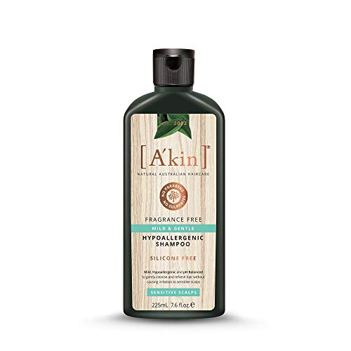 A'kin Natural Mild & Gentle Fragrance Free, Hypoallergenic Shampoo For Sensitive Scalp, Free From Parabens, Sulfates and Silicones, 225 ml