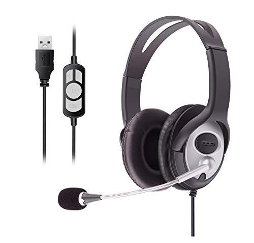 Kabelgebundene USB Headsets Stereo mit Geräuschunterdrückung Mikrofon und Inline-Steuerung, UC Business Headset für Skype, SoftPhone, Call Center, kristallklare Chat, Gaming