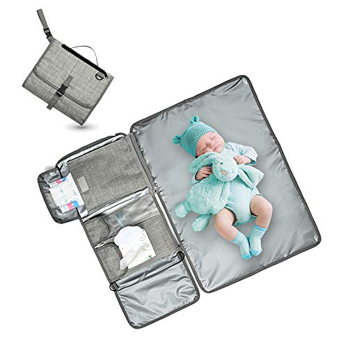 Portable Changing Pad,Vaezyd Super Soft Waterproof Cushioned Diaper Station Kit with 4 Pockets, Travel Change Mat for Toddlers, Baby, Girls Boys Newborn (Grey)