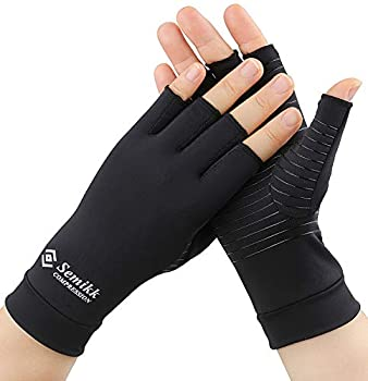 2 Pairs Compression Gloves for Women and Men – Copper Arthritis Gloves for Rheumatoid Arthritis Osteoarthritis Carpal Tunnel – Hand Pain Relief and Support – Open Finger