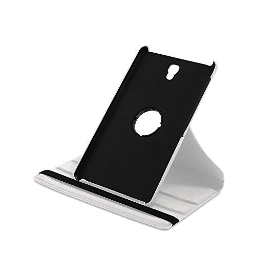 Drehbare Hülle mit Standfunktion für Samsung Galaxy Tab S 8.4 inkl. Panzerfolie aus Glas in WEIß mit automatischer Sleep- & Wake-Up-Funktion [passend für Modell SM-T700, SM-T705]