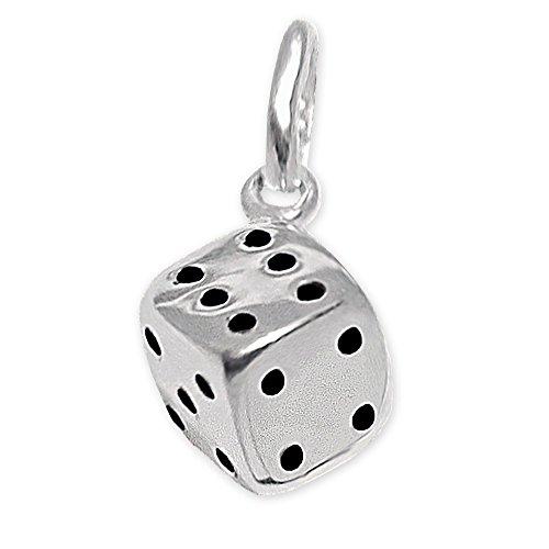 CLEVER SCHMUCK Silberner Kleiner Mini Anhänger Spieler Würfel 5 mm 3D glänzend teils geschwärzt Sterling Silber 925