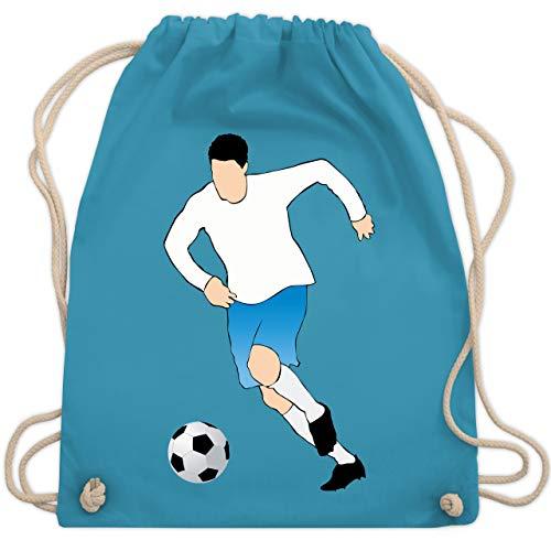 Shirtracer Fußball - Fußballspieler Ballbesitz Angriff Tor - Unisize - Hellblau - Teamsport - WM110 - Turnbeutel und Stoffbeutel aus Baumwolle