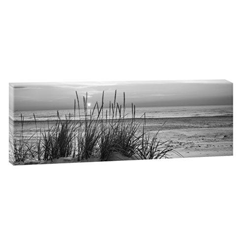 Querfarben Sonnenuntergang am Meer | Panoramabild im XXL Format | Poster | Wandbild | Fotografie | Trendiger Kunstdruck auf Leinwand Größen (120 cm x 40 cm, Schwarz-Weiß)