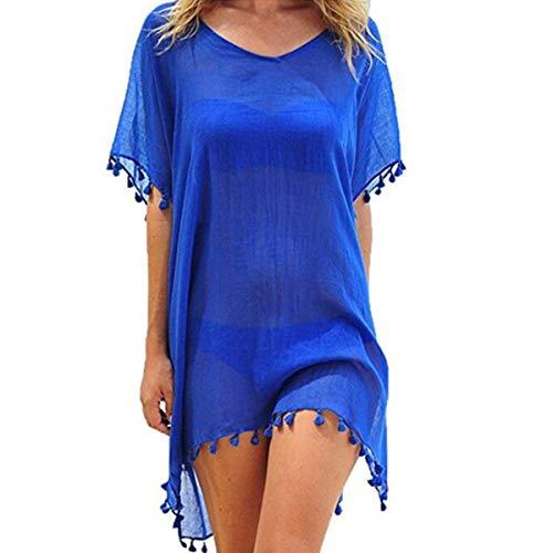 ECOMBOS Damen Strandkleid Bikini Cover Up Strandponcho Sommerkleid Sommer Bademode Strand Pareo (Blau)