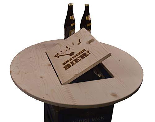 Bierkisten-Stehtisch mit Klappe, dm 70 cm