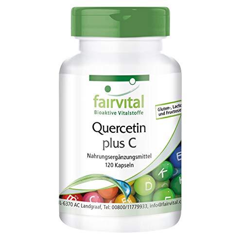Quercetina più vitamina C - per 2 mesi - VEGAN - Alto dosaggio - 120 capsule - Antiossidanti