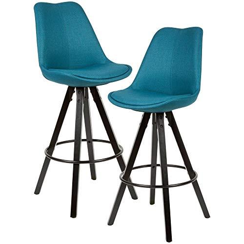 FineBuy 2er Set Barhocker Stoff/Massivholz   Design Barstuhl Skandinavisch 2 Stück mit schwarzen Beinen   Tresenhocker mit Lehne Sitzhöhe 77 cm