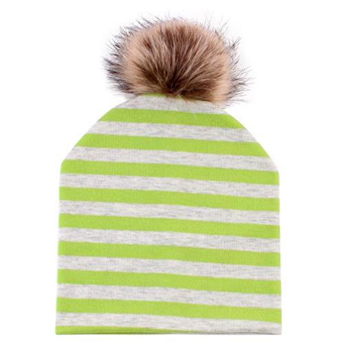 Tendycoco herfst baby gebreide muts hoed namaakbont pompon voor fotografie buitenshuis – zwarte winter, Moyen, Groen