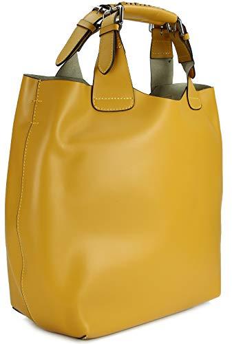 Belli italienische Damen Leder Handtasche Henkeltasche Schultertasche Cross Body - 41x32x15 (B x H x T) (Gelb)