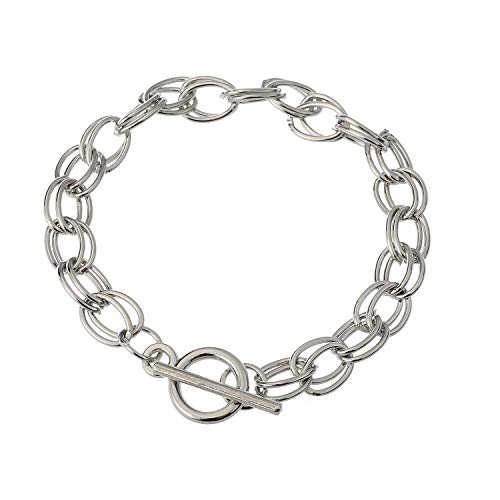 RUBYCA 5Pcs Toggle Clasp Silver Color Charm Rolo Bracelet Double Oval Link Chain 20cm DIY Jewelry