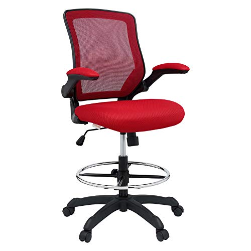 Modway Veer Drafting Chair - Reception Desk Chair - Flip-Up Arm Drafting Chair in Red