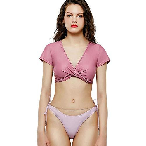 YGSM Push up Bikini,Pinker, Halbärmeliger, Geteilter Sonnenschutz-Bikini, Kettenstring, Verstellbare Spitze, Sexy Strandbadeanzug-Pink_S