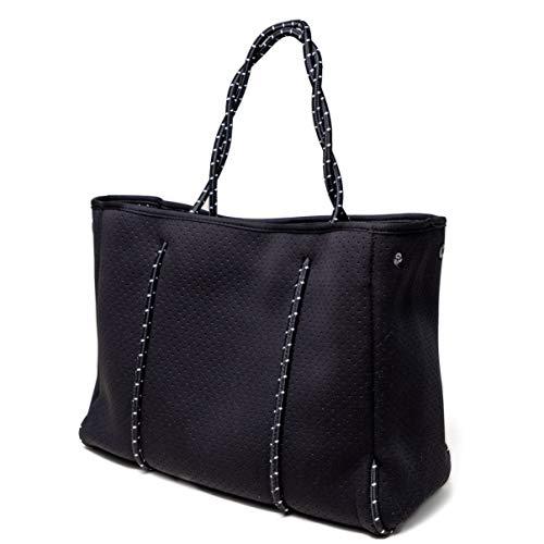 Speo Bag Tasche Damen groß 50×30 cm – Damentasche Shopper Umhängetasche aus Neopren – Tasche vegan auch perfekt als Sporttasche in Schwarz matt