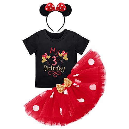 Baby Mädchen Dritter 3. Geburtstag Party Outfit Minnie Kostüm Baumwolle Kurzarm Top T Shirt Prinzessin Gepunktet Tütü Tüll Rock Stirnband 3tlg Bekleidungsset Schwarz - Mein 3. Geburtstag Ballon