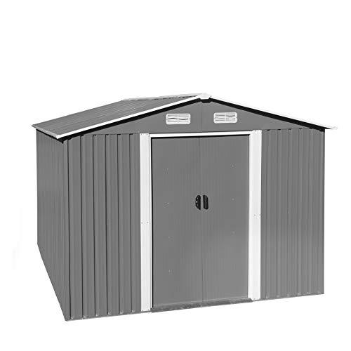 ESTEXO Geräteschuppen Gartenhaus Schuppen Gerätehaus Metall Metallgerätehaus mit Satteldach Fundament Schiebetür (312x257x192 cm/Hellgrau)