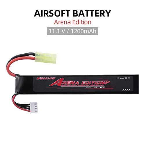 Funien Batería Airsoft, Bosli-Po 11,1 V 1200 Mah batería Lipo para Airsoft M4 Crane Stock M110 Sr25 Ak47 Mp5K Mp5 Scar M249 M240B M60 G36 M14 Rpk Pkm L85 Aug G3