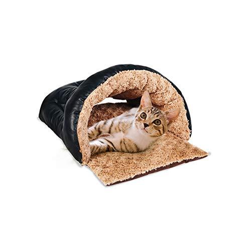 LXMBHDB Cama para mascotas cómoda saco de dormir para gatos invierno Yurt Top con lazo extraíble, terciopelo / piel de poliuretano / Top PP algodón / Bottom Spray algodón adecuado para mascotas pequeñas y medianas