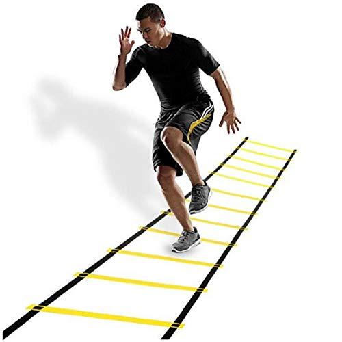 Escalera de entrenamiento de agilidad, escalera, para fútbol, fitness, deportes, balonmano, fútbol, deportes al aire libre, entrenamiento +6 m 12 peldaños