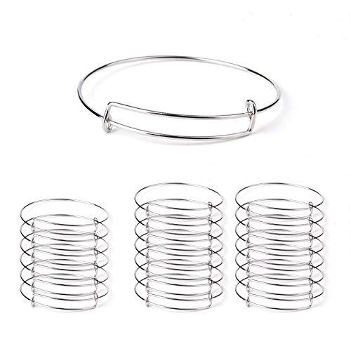 Bujingyun Women's Expandable Blank Bangle Adjustable Wire Bracelet for DIY Jewelry Making Bracelets 2.6 inches-20pcs