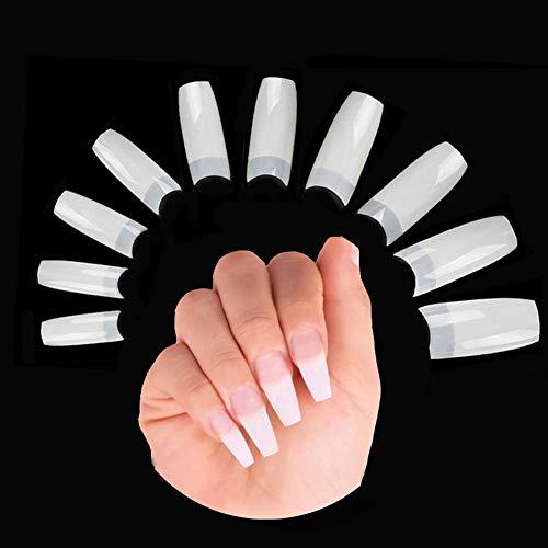 500 Stück Acryl Falsche Künstliche Nägel Tips, Natürliche Kunst Gefälschte Nägel Tipps Fake Nail Tips für Damen