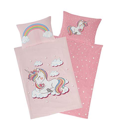 Aminata Kids Biber Kinderbettwäsche Einhorn-Motiv 100x135 rosa Baumwolle mit YKK Reißverschluss, Biber-Bettwäsche Kinder-Baby-Bettwäsche-Set mit Unicorn-Motiv, kuschelig, weich & warm Regenbogen pink