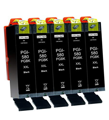 Supply Guy 5 Druckerpatronen XXL mit Chip kompatibel mit Canon PGI-580 Schwarz PGBK für Pixma TR7500 TR7550 TR8500 TR8550 TS6100 TS6150 TS6151 TS6300 TS6350 TS8100 TS8150 TS8151 TS8152 TS8350 TS9150