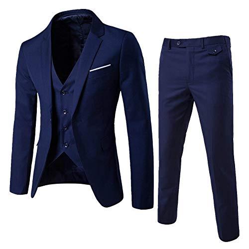 Yanlian Herren Anzug Slim Fit 3 Teilig mit Weste Sakko Anzughose Business Smoking von Harrms Marine M