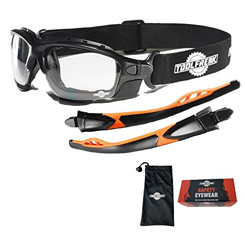 ToolFreak Spoggles Safety Glasses, ANSI Z87 Rated , Foam Padded , Clear Distortion Free Polycarbonate Lenses , UV and Impact Protection, Headstrap and Carry Pouch