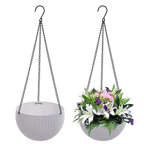 Surenhap 2 Pezzi Cestini appesi del Rattan del Giardino per Esterni fioriera Rotonda Giardino Balcone Patio Decorazione Domestica - Bianco