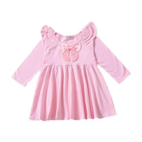 Milkiwai Automne et Printemps Bébé Fille Bow Petite Manche Volante Robe Jupe en Coton Size 90 (Pink)